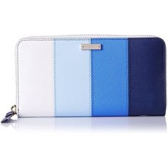kate spade new york Cedar Street Stripe Lacey Wallet ($158) ❤ liked on Polyvore featuring bags, wallets, blue stripe bag, blue bag, stripe wallet, striped wallet and stripe bag