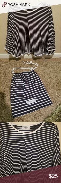Nursing Cover by EN Babies (Maternity) A 360 degrees poncho style nursing cover in navy & white stripes. It's in an absolute new condition, never been used. Its a super soft and comfortable, itch free fabric. Not see through at all. Provides complete modesty, yet, a big enough neckline to keep baby within view while nursing. Comes with a matching bag. Product Dimensions: 24.5 x 56.5 x 0.2 inches Made of: 95% Cotton, 5% Spandex (more durable than 100% Cotton made products!). Material: BPA…