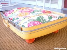 Vintage Luggage Pet Bed Tutorial - Chaotically Creative