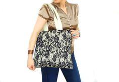 Lace Shoulder Bag Black Cream Black Tote Lace Hobo Bag by aynikki