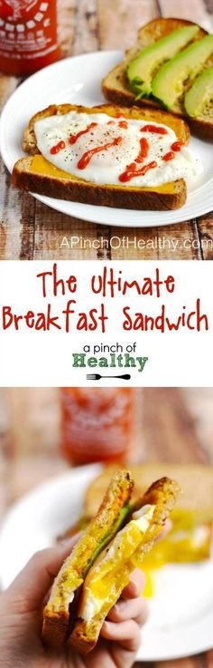 The Ultimate Breakfast Sandwich. PLUS, how to make a no flip over easy egg   APinchOfHealthy.com