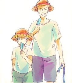 Naruto and Bolt. THEY'RE WEARING ONE PIECE HATS!!