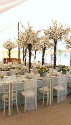 Flower Tree Centrepieces in Marquee, Design by Finesse Planning