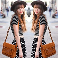 #stealthelook #look #looks #streetstyle #streetchic #moda #fashion #style #estilo #inspiration #clothes #roupas #skirt #poá #listras #cropped #chapeu #satchel