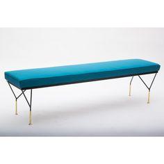 Panca stile anni 50 paese Italia colore blu in ottone e tessuto