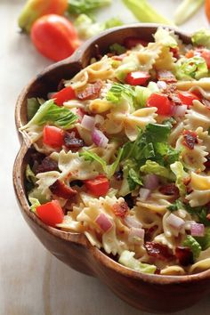 20-Minute BLT Pasta Salad - everyone LOVES this fast, easy meal!!! Not the hugest mayo/miracle whip fan- I'm so happy that I found a recipe w/out it!!