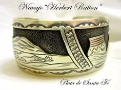 "Navajo""HERBERT RATION' ""Picturesque NM Pueblo Scene"" Hefty 925 Cuff 1-1/4"" Tall"