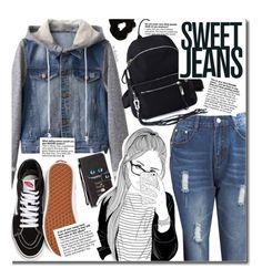 """""""Sweat Jeans (casual)"""" by beebeely-look ❤ liked on Polyvore featuring Vans, Forever 21, casual, Jeanjacket, casualoutfit, Denimondenim and twinkledeals"""