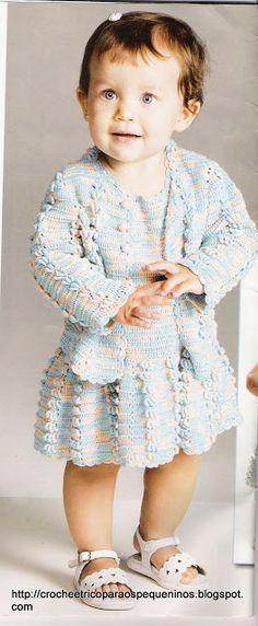 CROCHE E TRICO PARA OS PEQUENINOS: vestido e casaquinho de bebe - receita