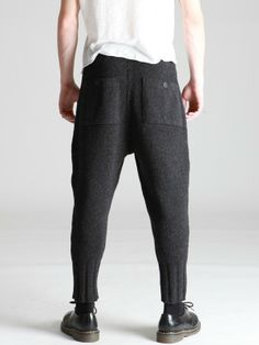 Thick Wool Knitted Low-Crotch Pants by SYNGMAN CUCALA