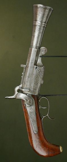 1860-1870 Buenos Aires. Pinfire Pistol Blunderbuss. Massive and rare.