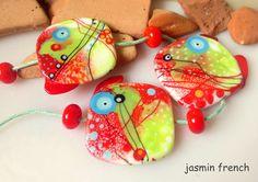jasmin french ' summertime ' lampwork focal beads glass art