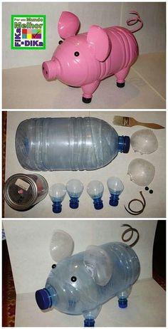 Pig from recycled jug – Handwerk und Basteln Reuse Plastic Bottles, Plastic Bottle Flowers, Plastic Bottle Crafts, Recycled Bottles, Pig Crafts, Garden Crafts, Diy And Crafts, Paper Crafts, Recycled Art Projects