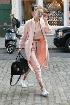 Try a cropped coordinating sweatsuit for a sportier, I-just-came-from-the-gym look.