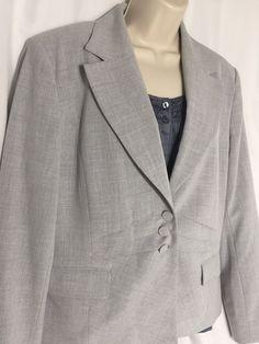06efa5ac886 Chapter One Ladies Blazer Light Gray Dress Jacket Sz 16 Tailored Look 2pc  Womens