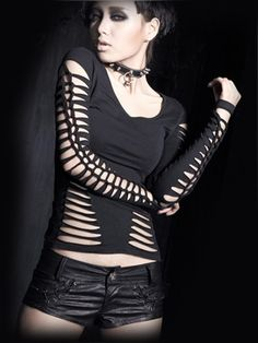 Buy Black Slashed Goth Top Blouse by Punk Rave at I Am Attitude Vintage Goth, Grunge Goth, Punk Outfits, Gothic Outfits, Casual Outfits, Rock T Shirts, Cut Shirts, Punk Rock, Emo