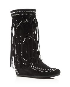 Ash Suede Fringe Studded Wedge Boots | Bloomingdale's