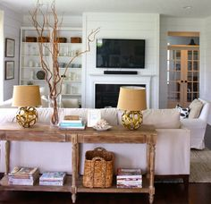 Love the sofa table to separate the kitchen from the family room eclecticallyvintage.com