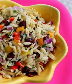Orzo and Vegetable Confetti Salad- I made this for a Pop-themed baby shower and called it a POP of color pasta salad. I used a little bit of garlic & parsley oil as well as the extra virgin olive oil