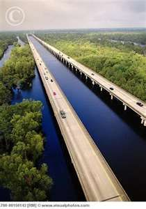 The Atchafalaya Basin Bridge, the 14th longest in the world, is a pair of parallel bridges between Baton Rouge & Lafayette, Louisiana.