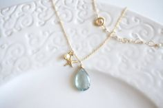 Dreamy Moss Aquamarine Gold Starfish Handcrafted Necklace
