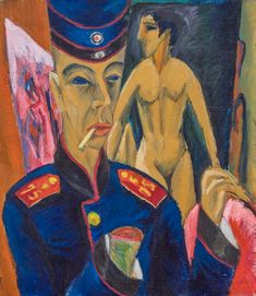 Ernst Ludwig Kirchner: Self-Portrait as a Soldier, oil on canvas; at Neue Galerie. Ernst Ludwig Kirchner, Matisse, Neue Galerie New York, Degenerate Art, Art Gallery, Academic Art, National Portrait Gallery, Famous Art, Art Graphique