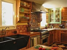 Rustic Cabin Kitchen I built myself for peanuts, Deserted stone cottage that we had watched for 25 years and it finally came on the market. ...