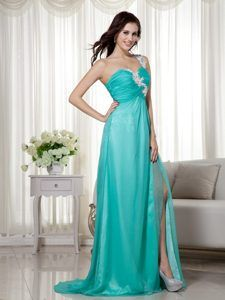 Silk Like Satin One Shoulder Brush Train Prom Celebrity Dress in Turquoise