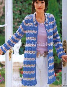 Пальто узором зигзаг  Вяжем многоцветное пальто крючком. Узор модель «Зигзаг».