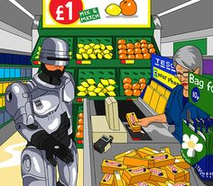 Dear Jim,Please paint me Robocop at the checkout in Tesco, trying to decide if its worth 10p for a bag for life. He has bought a shitload of Soreen so he's going to need something sturdy.That would be magic.Nick Connors (age 36)