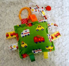 Baby Toy Fireman firefighter firetrucks crinkle by Sassydoodlebaby, $9.99