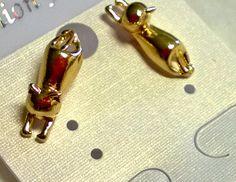 CAT Earring Set 14k Gold Plated 3D Design NEW Kitten Kitty Ear Rings Studs  #Unbranded