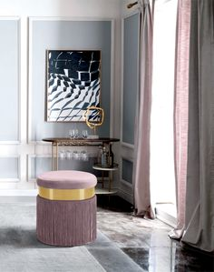The Meridian Furniture Inc Yasmine Round Upholstered Ottoman/Stool comes the party dressed to impress. A wide belt of gilded steel and long flirty fringe. Pink Ottoman, Ottoman Footstool, Round Ottoman, Upholstered Ottoman, Contemporary Home Decor, Contemporary Design, Meridian Furniture, Pink Velvet, Traditional Design