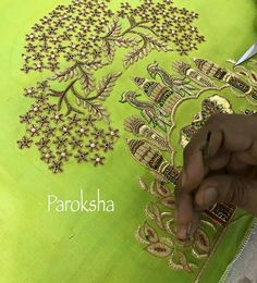 Embroidery Suits Punjabi, Zardozi Embroidery, Hand Work Embroidery, Indian Embroidery, Hand Embroidery Designs, Border Embroidery, Embroidery Ideas, Embroidery Stitches, Bridal Blouse Designs