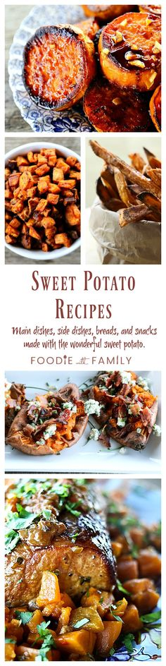 Sweet Potato Recipes for every occasion from Foodie with Family. Melting Sweet Potatoes, Smashed Sweet Potatoes with Bacon and Bleu Cheese, Crispy Baked Sweet Potato Fries, and more!