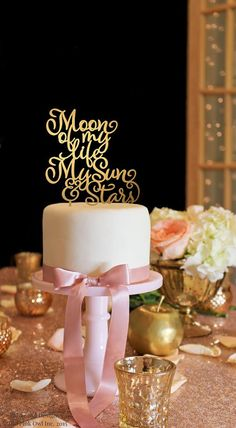 Moon of My Life My Sun & Stars Wedding Cake Topper .:. Lead Time .:. Welcome to The Pink Owl. We love to allow 3-4 weeks production time for