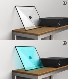 Flat and transparent speaker using a sheet of glass as a vibrating membrane to create sound. When the speaker is on, music gives birth to colour and brings a new existence to sound within the space - design by Pierric Verger Gadgets And Gizmos, Tech Gadgets, Cool Gadgets, Electronics Gadgets, Cool Technology, Technology Gadgets, Tech House, Transparent, Speakers