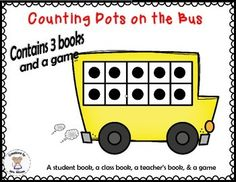"Ten frames, counting, number recognition, number words, math books, matching game. With this printable, children will work on counting, number recognition, and numbers words skills using ten frames. The book uses the tune of ""The Wheels on the Bus""."