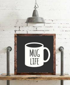 Mug life wood sign, rustic home decor, rustic kitchen decor, distressed cof Coffee Is Life, Coffee Shop, Coffee Lovers, Coffee Coffee, Rustic Kitchen Decor, Rustic Decor, Kitchen Redo, Quotes Valentines Day, Coffee Wall Art