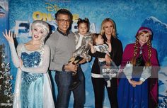 Elsa the Snow Queen, actor <a gi-track='captionPersonalityLinkClicked' href='/galleries/personality/580441' ng-click='$event.stopPropagation()'>Jaime Camil</a>, Elena Camil, Heidi Balvanera and Princess Anna arrive at the premiere of Disney On Ice's 'Frozen' at Staples Center on December 10, 2015 in Los Angeles, California.