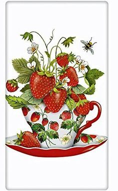 "Fresh Strawberries Teacup 100% Cotton Flour Sack Dish Tea Towel - Mary Lake Thompson 30"" x 30"""