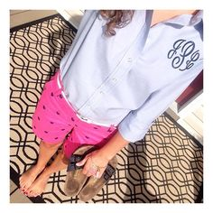 Outfit of the day.  Monogrammed shirt from AmyAnneApparel on Etsy. Pink shorts from British Khaki - from TJMaxx. Navy Birkenstocks. Mason jar bracelet from SweetandSouthernThings on Etsy.