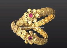 Gold kada bangles in south Indian traditional jewellery design with kasu or gold coin motifs with floral imprint. Gold Bangles Design, Gold Jewellery Design, Gold Jewelry, Diamond Jewellery, Baby Jewelry, Jewelry Sets, Jewelry Stores, Antique Jewelry, Diamond Earrings