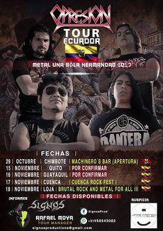 """""""METALHOUSE"""": OPRESIÓN - Tour ECUADOR  """"METAL UNA SOLA HERMANDAD 2017"""" A mediados de Noviembre OPRESIÓN sale fuera de Perú para realizar su primera gira lejos de estas tierras en el TOUR ECUADOR que está preparando Signos Productions, aún hay fechas disponibles. Thrash Metal Ataca!  #Opresión #MetalUnaSolaHermandad2017 #TourEcuador #ThrashMetal #ColomboPeruano #ElRito #MHZ https://t.co/WlkJotNqRf"""