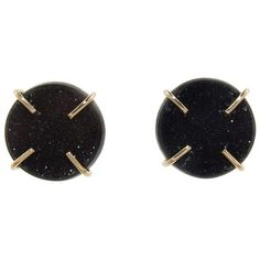 Melissa Joy Manning Black Druzy Agate Stud Earrings ($490) ❤ liked on Polyvore featuring jewelry, earrings, 14k earrings, druzy jewelry, handcrafted earrings, druzy earrings and agate jewelry