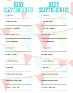 Baby Scattegories baby shower game | great for gamers like us :)