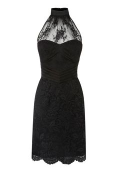 Karen Millen Halter Neck Lace Dress Black
