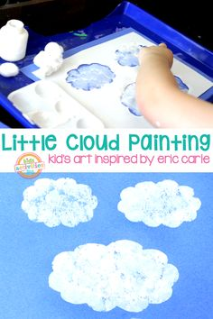 Cloud Art Inspired By Eric Carle. This fun cloud art I made with my son was so simple and easy. Cloud Art, Le Cloud, Preschool Projects, Preschool Activities, Book Activities, Steam Activities, Classroom Crafts, Educational Activities, Classroom Themes