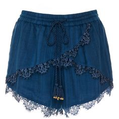 TRYB212     Marine Lea Lace Mini Shorts ($135) ❤ liked on Polyvore featuring shorts, blue, short, navy, striped shorts, short hot pants, mini shorts, navy lace shorts and blue lace shorts