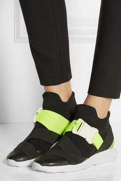 Christopher Kane | Neon and leather-trimmed neoprene sneakers | NET-A-PORTER.COM